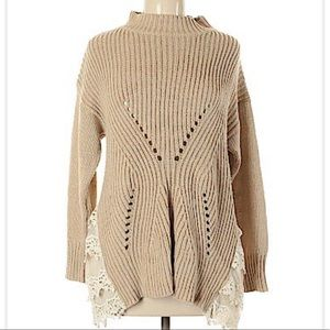Ryu Chunky Knit Mock Neck Sweater with Lace Trim